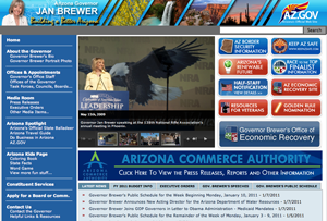 Screenshot of Gov. Brewer's official website, taken at 4:45 pm EST.