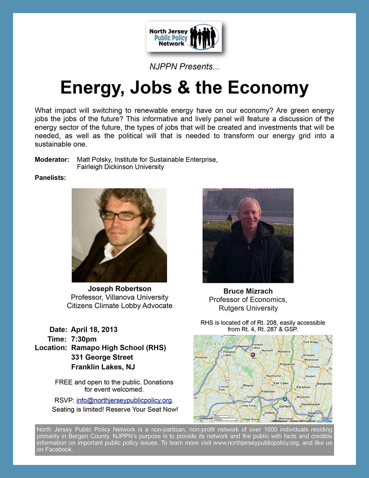 NJPPN Event on Energy, Jobs & the Green Economy: 4/18