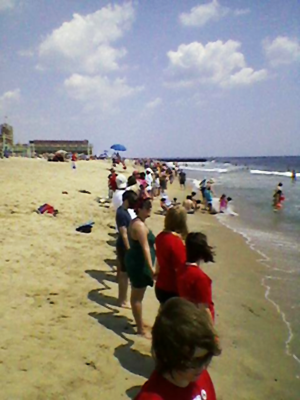 Thousands of New Jersey residents line beach in Asbury Park to demand ban on offshore drilling - Summer 2010