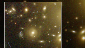 A cluster of galaxies, as captured by the Hubble Space Telescope, example of our universe's ongoing expansion, diffusion of matter and energy: new universe would not be a copy, but would evolve its own materials and physical laws.